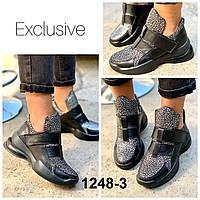Ботинки женские кожаные черные на липучках спортивные, фото 1