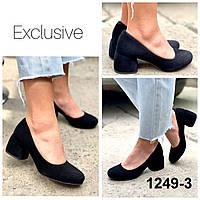 Туфли женские лодочки замшевые черные на каблуке, фото 1