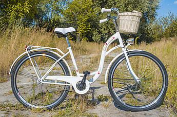 Велосипед жіночий міський VANESSA 28 White з кошиком Польща