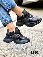 Кросівки жіночі шкіряні чорні, фото 1