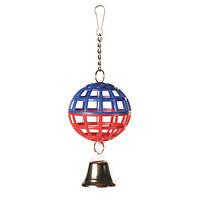 Trixie (Трикси) Игрушка для птиц шарик на цепочке с колокольчиком, пластик 7см