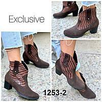 Казаки женские демисезоные замшевые коричневые на каблуке, фото 1