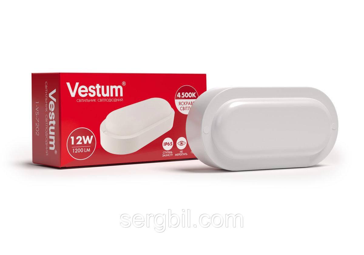 Світлодіодний овальний світильник ЖКГ Vestum 12W 4500K 220V 1-VS-7202