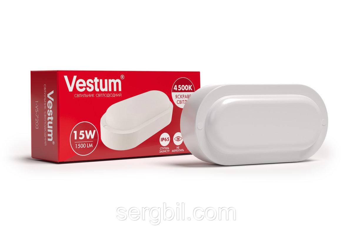 Светодиодный овальный светильник для ЖКХ Vestum 15W 4500K 220V 1-VS-7203