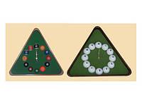 Часы бильярдные треугольные с половинками шаров