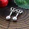Серебряные серьги гвоздики Клео размер 4х4 мм вес 1.39 г, фото 2