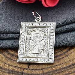 Срібна ікона Св. Миколай Чудотворець розмір 24х18 мм білі фіаніти вага 5.15 г