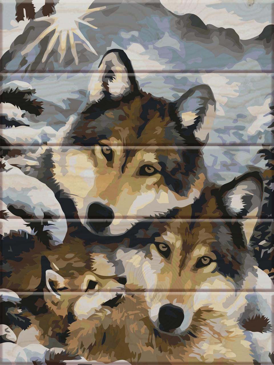 ASW013 Раскраска по номерам на деревянной основе Семья волков, В картонной коробке