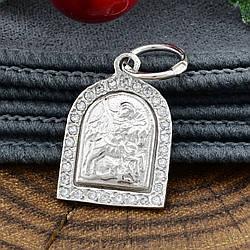 Срібна ікона Георгій Побідоносець розмір 18х12 мм білі фіаніти вага 1.38 г