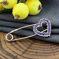Серебряная булавка Любовь размер 32х13 мм фиолетовые фианиты вес 1.63 г