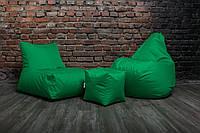 Зеленый набор мягкой бескаркасной мебели (кресло мешок, диван, пуф)