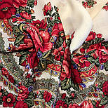 Розовый сад 1901-1, павлопосадский платок шерстяной с шерстяной бахромой, фото 8