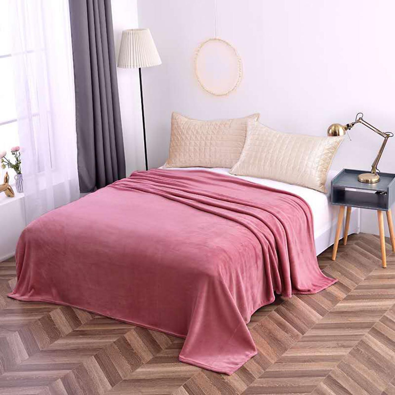 Плед полуторный розовый микрофибра, нежное полуторное покрывало на кровать 160х200см