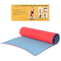 Коврик для йоги, фитнеса, спорта Profi 183х61 см, 6 мм