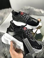 Женские кроссовки Versace Chain Reaction 2 Black White / Обувь Версаче черно белые