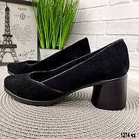 Туфли замшевые женские на небольшом каблуке, фото 1