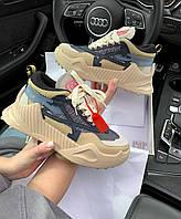 Женские кроссовки Off-White ODSY-1000 Бежевые, Реплика Люкс, фото 1