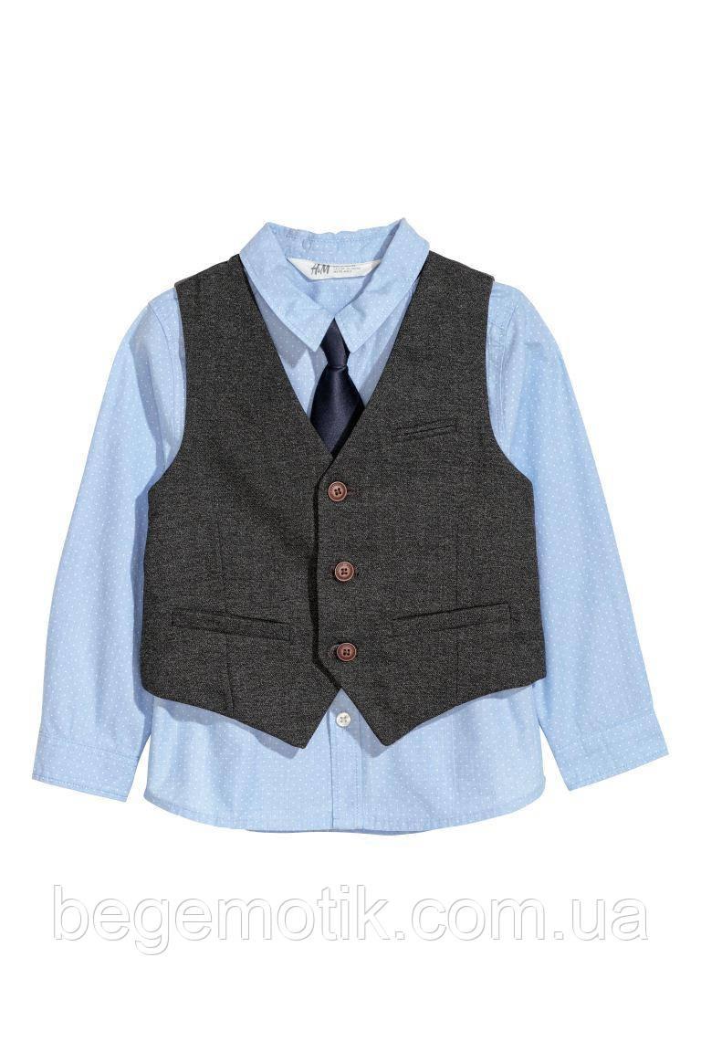 H&M Голубая Рубашка с жилетом и галстуком размер 7-8 лет рост 122-128