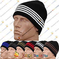 Мужские вязанные шапки с флисом без отворота (1419), фото 1