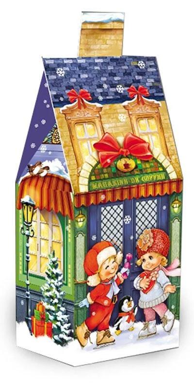 Упаковка праздничная новогодняя из картона Синий домик мелким оптом, до 400г