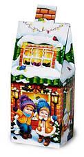 Упаковка праздничная новогодняя из картона Синий домик мелким оптом, до 400г, фото 2