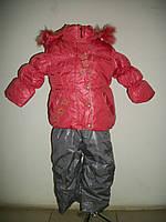 Зимняя курточка и комбинезон для девочки Цветочки р. 1-2,5 года, фото 1