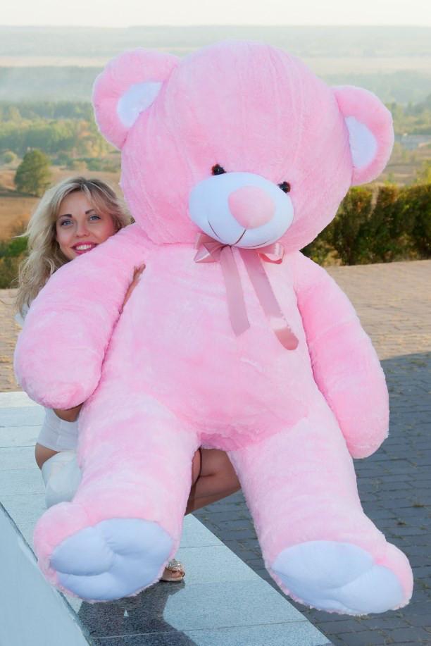 Мишка розовый плюшевый Томас 185 см