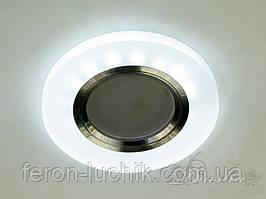 Точечный светильник с LED подсветкой встраиваемый круглый матовый белый MR-16 GU5.3 17870R