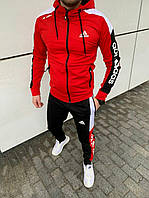 Спортивный костюм ADIDAS мужской с Капюшоном лампасы Качество LUX Реплика Красный (Размер S)