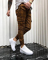 Штаны WOW мужские с большими карманами зауженые Качество LUX (разные цвета) Коричневые в клетка