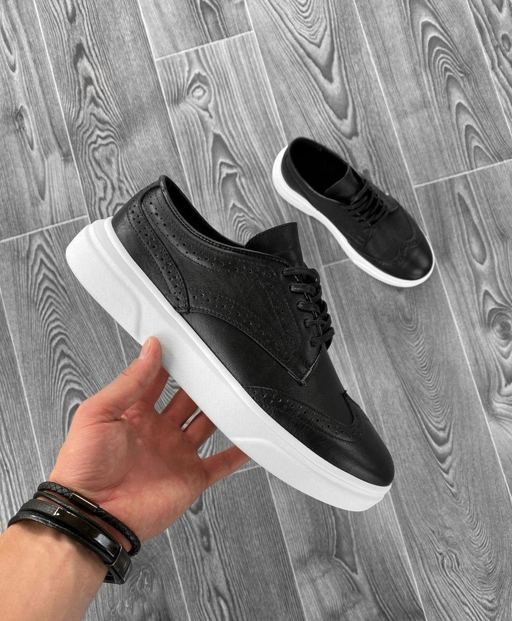 Чоловічі кросівки шкіряні чорно-білі FF8