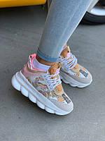 Женские кроссовки Versace Chain Reaction Pink / Обувь Версаче Италия розовые