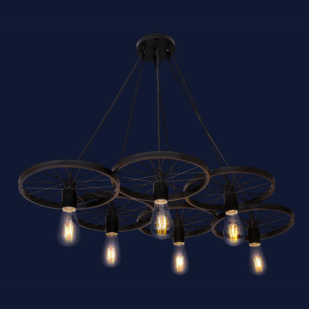 Висячий светильник металлический в стиле лофт цвет черный Levistella&75990180-6 BK