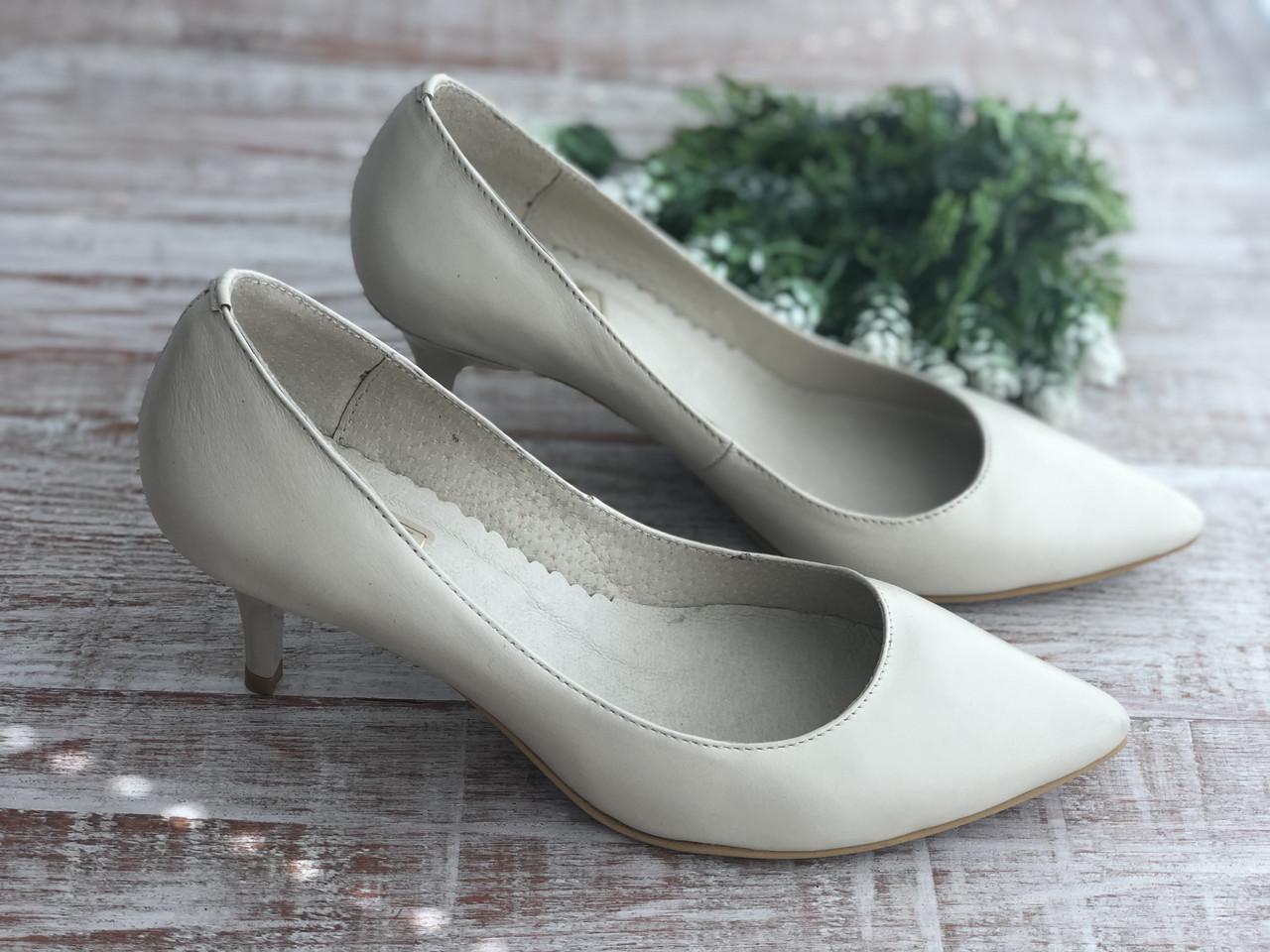 Кожаные женские туфли Sodis 6003 беж размеры 35-41