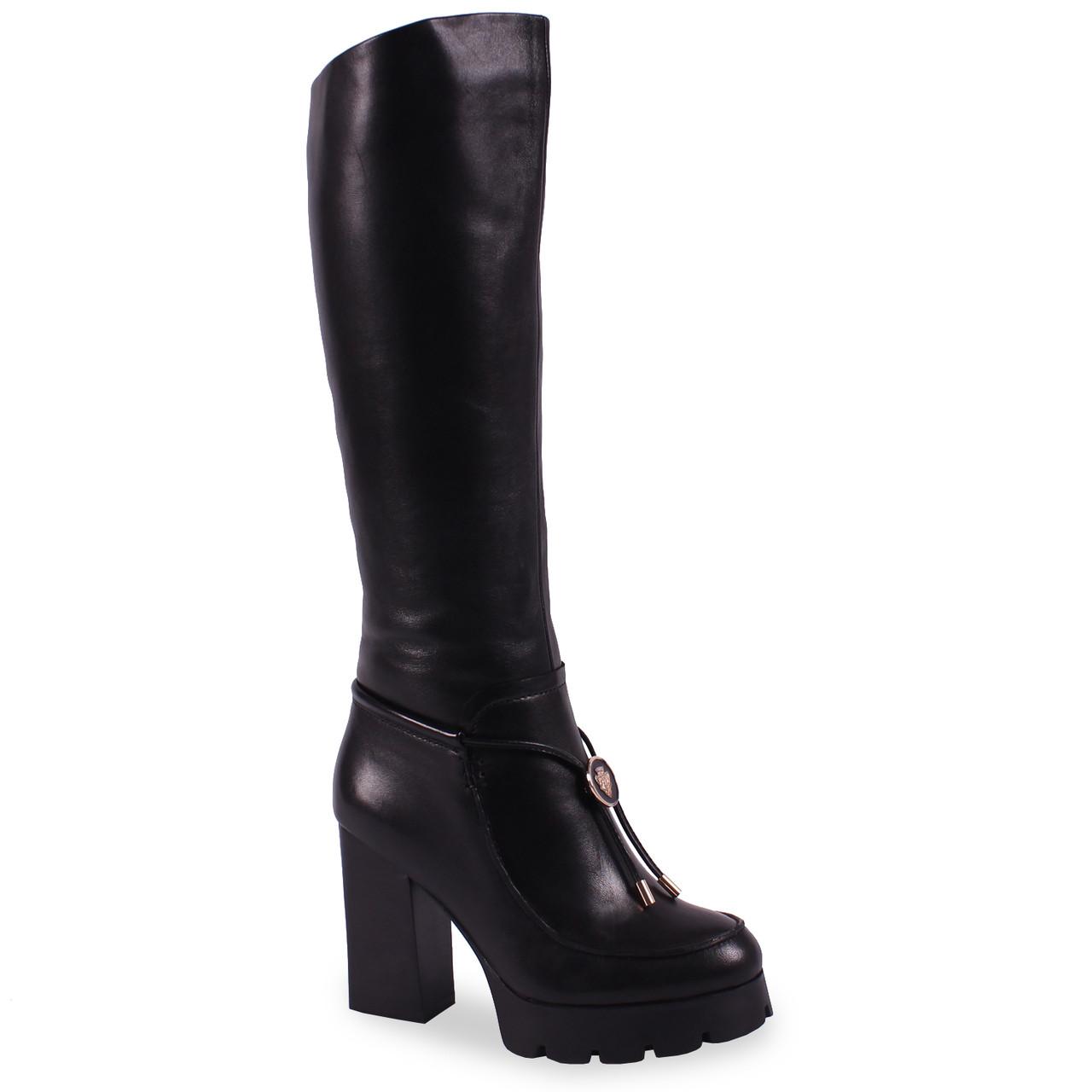 c953701cf188 Купить Стильные женские сапоги Aimeini (зимние, кожаные, черные, на  платформе, на ...