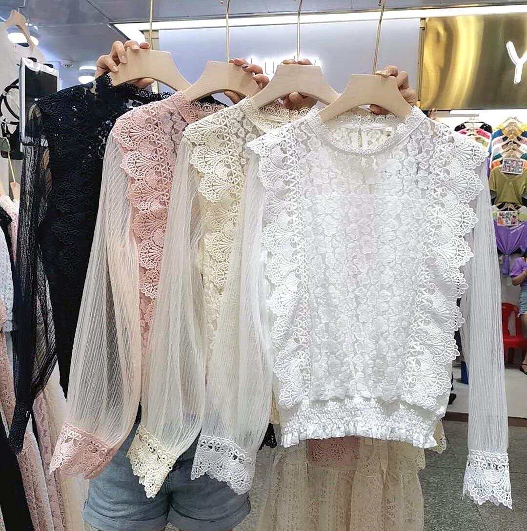 Кружевная блузка с прозрачными рукавами 42-46 (в расцветках)