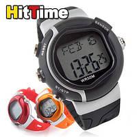 Часы электронные наручные пульсометр спортивный секундомер для бега, фото 1