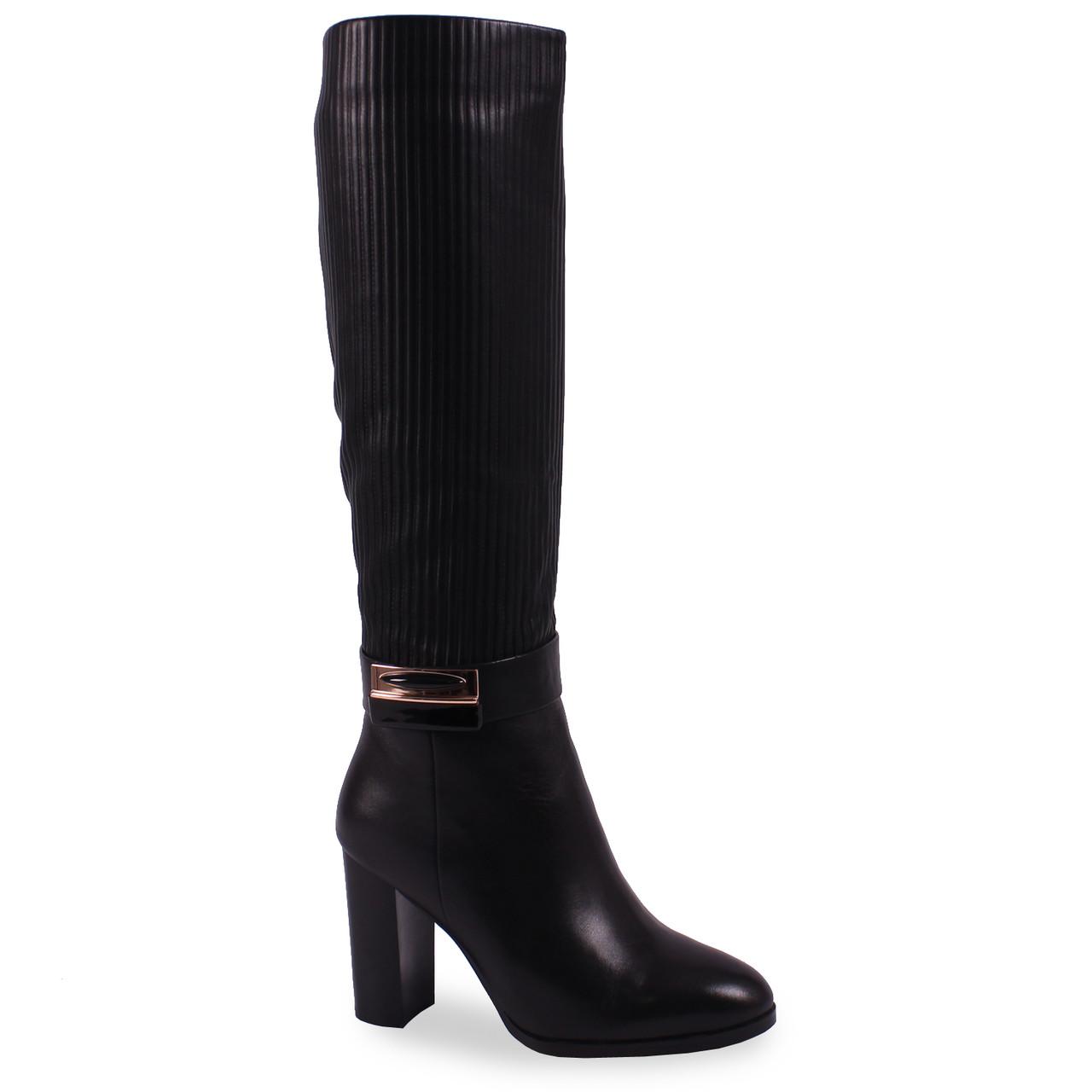Модные женские сапоги Lanzoni aB (кожаные,зимние, черные, на каблуке, есть замок, есть резинка)