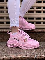 Женские кроссовки Balenciaga Triple S Розовые, Реплика, фото 1