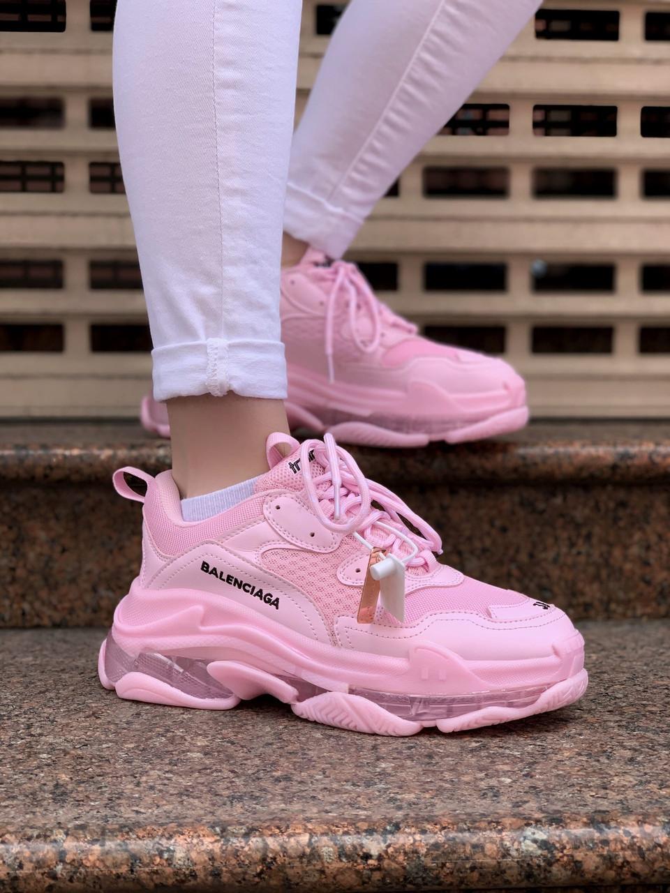 Женские кроссовки Balenciaga Triple S Розовые, Реплика