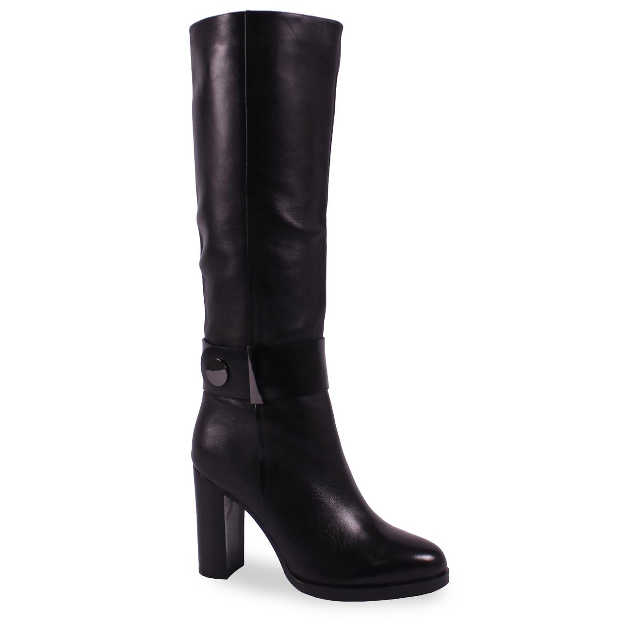 Стильные женские сапоги Djovannia (кожаные, зимние, черные, на каблуке, есть резинка, есть замок, пряжка)