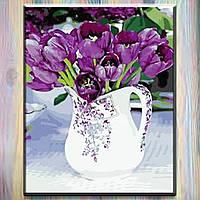 """Картина за номерами ТМ ArtStory, полотно на підрамнику, Квіти Тюльпани в глечику"""" 40*50 см, в коробці"""