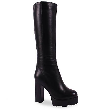 99725b67586e Модные женские сапоги Djovannia (кожаные, зимние, черные, на платформе, на  каблуке, есть резинка, есть замок)