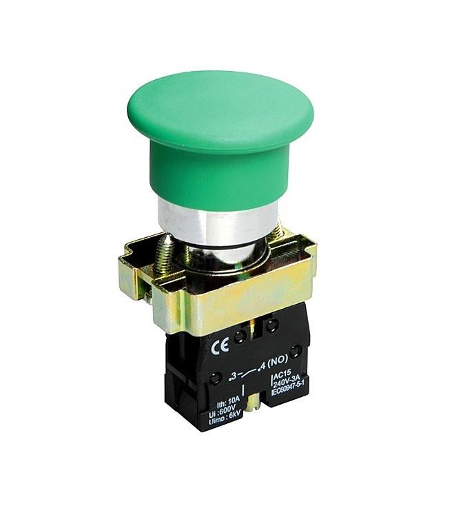 """Кнопка XB2-BC31 1NO """"гриб"""" без підсвічування зелений TechnoSystems TNSy5500278"""