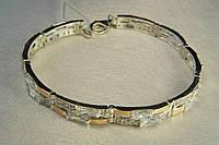 Серебряный браслет с золотыми пластинами и фианитами