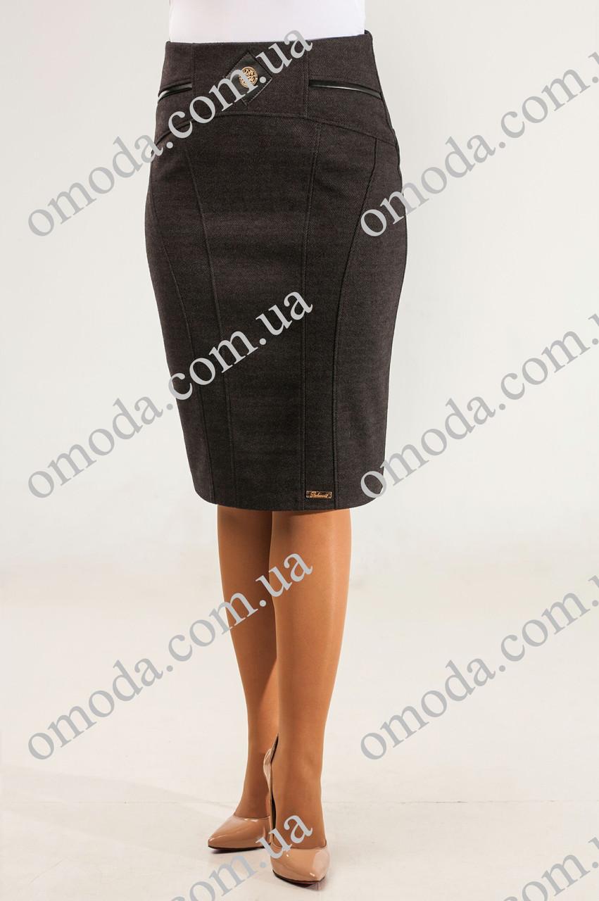 Женская утепленная юбка карандаш  Кира серого цвета , шерсть