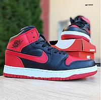 Мужские кроссовки в стиле Nike Air Jordan 1 Retro красные с черным, фото 1