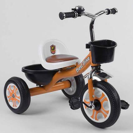 """Велосипед 3-х колёсный LM-5207 """"Best Trike"""" (1) ОРАНЖЕВЫЙ, пено колесо, метал. рама, звоночек, 2 корзины,"""