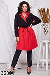 Удлиненное женское пальто на запах с воротником 48-50, 52-54, 56-58, 60-62, фото 2