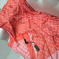 Палантин Louis Vuitton LV монограммы шерсть шелк оранжевый с белым